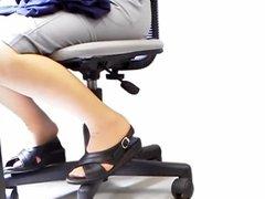 Office Lady Under The Desk Upskirt Sexy Plump Legs Slideshow