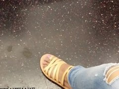 Candid ebony family feet in sandals