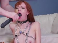 Latex bondage cum vibrator Slavemouth Alexa