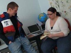 Chubby teacher seduces her student