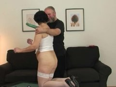 Hot threesome with horny old lady in white lingerie