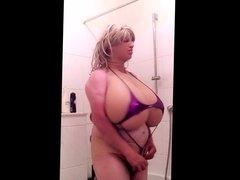 Huge fake Boobs pink mikro Bikini