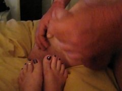 cum on wifes sexy feet with sexy talk