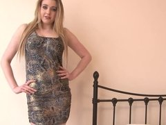 Blondie with hot curves touches herself after stripping