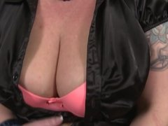 Boy fucks and cums on sweet mom with saggy tits