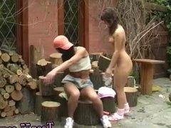 Blonde teen pounded Cutting wood and eating