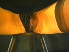 Hairy Mature Pees Sitting on a Stool