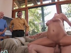 Cougar Sucks & Fucks a Stud While Cuckold Watches