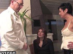 GanzGeil.com Bisexual german milfs sharing cock in threesome