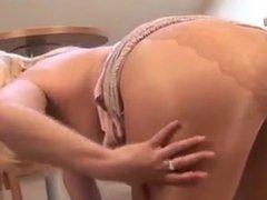 curvy mature blonde in tan pantyhose masturbates