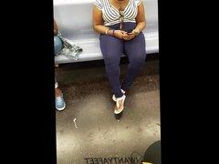 Candid ebony feet in sandals pt 2