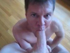 Blue-eyed cocksucker drains every drop from hung ginger Crotchonfire
