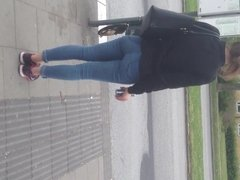 Nice teen but on a bus station