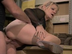 German Granny takes cock on the job