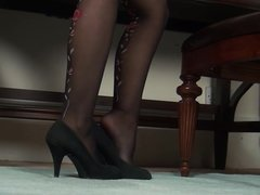 Super hot milf in black stockings