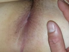 Spreading Wifes hairy ass and hairy pussy