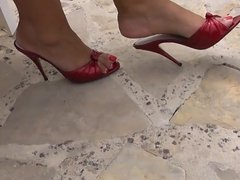 Red Patent High Heels Mules