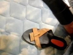 Vacuuming my dick and cum on my girlfriend's sandal.