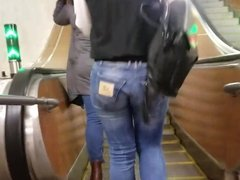 Blond girl with round ass