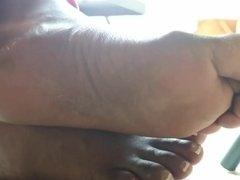 Candid Beautiful Ebony Feet in Flip Flops 2