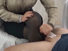 Handjob And Cumming On Black Pantyhose