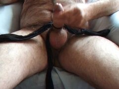 stocking tied cock and balls play part 2 with spunk