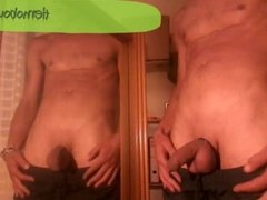 Jerking with cockring in front of the mirror