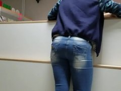 Young MILF's ass in the post office