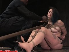 BDSM sub tied up by black male dom and toyed