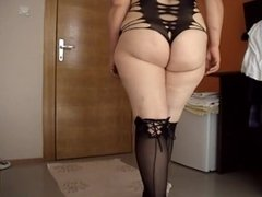 Milfs in black stockings capture in hotel room