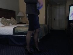Busty Betsy takes on a long double ended Dildo