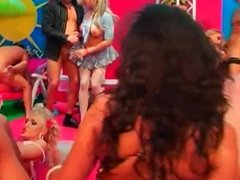 Gorgeous sex dolls fucking at a wild party