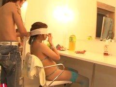 Squirting Japanese Teen in Gangbang Bukkake