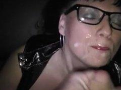 Lady In Glasses Glistening In Cum