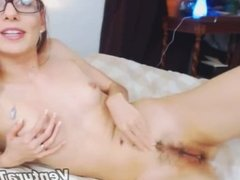 Beauty girl in glasses masturbate on webcam