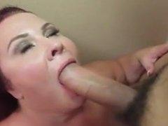Big girl with big saggy tits rides cock