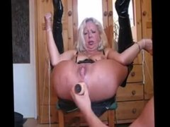 Old Milf is Getting Hard Anal with Big Dildo and Squirting