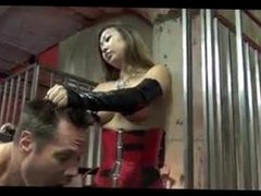 Asian Mistress dehumanizing slave