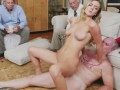 Old man cums inside girl and used by men