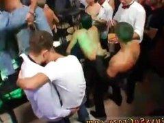 Group of men sucking s milky boobs