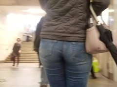 MILF's ass in tight jeans