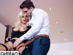 Busty blonde wife Tia Layne gets fucked