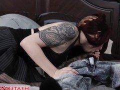 Inked goth slut gags on huge black cock