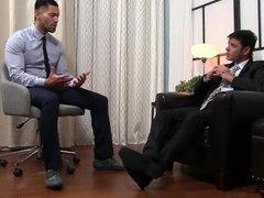 Business man enjoy feet fetish at home