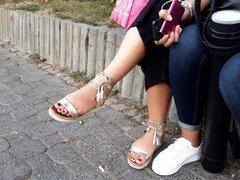 New GF's sexy feets, dark toes, close up at street