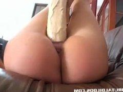 Ultra tight brunette Suzie Carina gaped by brutal dildo