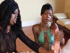 Ebony babes tugging cock in hj threeway