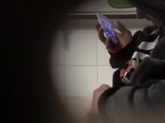 Spying On Homeless Man jerking Off In Mens Room