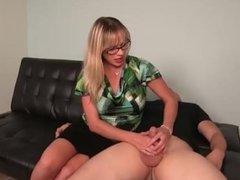 Hot blonde lady handjob
