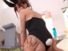 Asian costume babe fucked in fishnetstockings